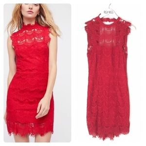 Intimately Free People Red Lace Daydream Dress